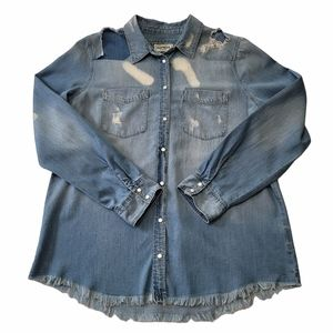 Women's Express Boyfriend Distressed Shirt Sz M
